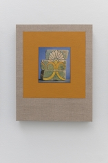 Kamrooz Aram,Variations on Glazed Bricks (2), 2021, Oil, color pencil and book pages on linen, 60.96 x 40.64 cm