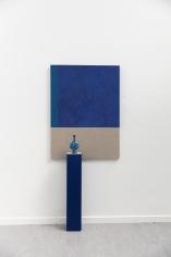 Kamrooz Aram,Composition with lapis lazuli, cobalt and ceramic bottle, 2021, Lapis lazuli and cobalt oil paint on linen, lapis lazuli and cobalt oil paint on wood, marble, ceramic, Panel: 137.16 x 101.6 cm; Pedestal: 106.68 x 20.32 x 20.32 cm