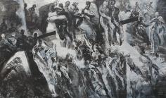 Ahmad Moualla, Untitled, 2011, Mixed media on canvas, 177 x 300 cm