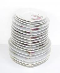 Nazgol Ansarinia, Mendings (plate), 2012, China plates, glue,Dimensionsvariable