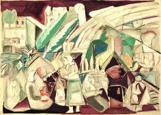 Jamil Molaeb, Untitled, c. 1992, Gouache on carton, 50 x 70 cm