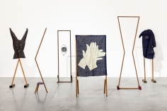 Ana Mazzei, Run Rabbit Run, 2018, Beechwood, peroba wood, linen, fabric and metal string, Dimensions variable