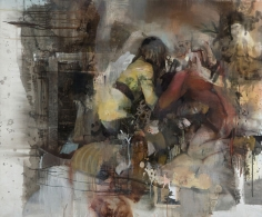Daniel Pitin, Just In Between Us, 2012, Oil, acrylic, candle smoke and paper glued on canvas