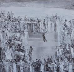 Ahmad Moualla, Untitled, 2011, Mixed media on canvas, 97 x 97 cm
