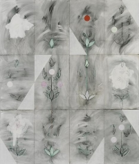 Kamrooz Aram, Seven Sessions with Brahem (Palimpsest #22), 2013, Oil, oil pastel and wax pencil on canvas, 213 x 183 cm