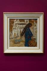 Tahia Halim, Ella Al-Souq Fi Al-Nuba (to the market place in Nubia), 1960s, Oil on board, 50 x 50 cm