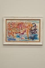 Gazbia Sirry, Untitled (Houses), Oil on canvas, 38.5 x 60.5 cm