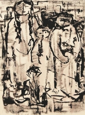 Mahmoud Hammad, Figures, 1962, Ink on paper, 24 x 18 cm