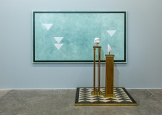 Kamrooz Aram, A Monument for Living in Defeat, 2016, Oil, wax and pencil on canvas, terrazzo and brass on panel, solid walnut and brass pedestals, soapstone and alabaster, Dimensions variable