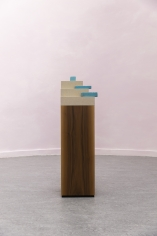 Kamrooz Aram,Composition with Fragments, 2017, Wood, linen on mdf, ceramic tiles, 110 x 30 x 30 cm