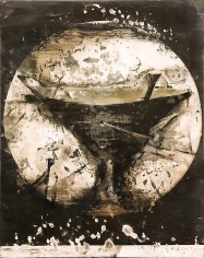 Zsolt Bodoni, Boat no. 1/2, 2012, Acrylic on photo, 19 x 24 cm