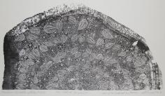 Khaldoun Chichakli, Cave of the Birds and the Flowers, 1983, Woodcut print, 19 x 34.5 cm, Ed. of 10