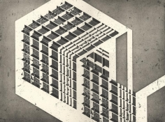 Seher Shah,Unit Object (house), 2014, Etching with aquatint on Arches paper