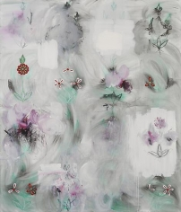 Kamrooz Aram, Uncertain Forms in Resistant Space (Palimpsest #26), 2013, Oil, oil pastel and wax pencil on canvas, 213 x 183 cm