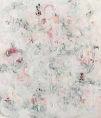 Kamrooz Aram, Revisions for a New Garden (Palimpsest #15), 2013, Oil, oil pastel and wax pencil on canvas, 213 x 183 cm