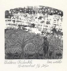 Khaldoun Chichakli, Love, 1983, Woodcut print, 7.1 x 6.4 cm, Ed. of 5
