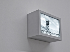 Seher Shah, Hinterland Structures: Observation Tower, 2011, Duratran in wood light box, 13 x 18 x 8 cm