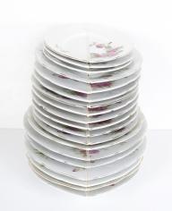 Nazgol Ansarinia, Mendings (plates), 2012, China plates, glue, Dimensionsvariable