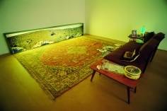Hale Tenger, Anatomically Modern Humans (Homo Sapiens Sapiens),1998, Empty aquariums, carpet, sofa, coffee table, dried fish, lightbox with panoramic image from Mars and found objects including lava lamp, magazines, photographs, Dimensions variable