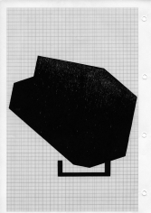 Seher Shah, Hewn (monolith object), 2014, Woodcut on A4 grid paper, 30x 21 cm