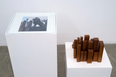 Iman Issa, Material for a sculpture commemorating a singer whose singing became a source of unity of disparate and often opposing forces (detail), 2011, Mahogany sculpture, c-print, two painted wooden pedestals, vinyl text on wall