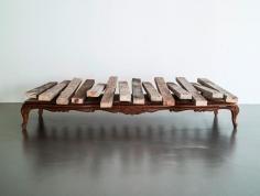 Hera Büyüktaşçıyan, Dock, 2014, Found wooden furniture, plank, magnet, engine driven