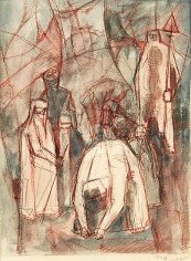 Mahmoud Hammad, The Harvest, 1965, Watercolor on paper, 22 x 16 cm