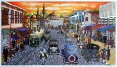 Khaldoun Chichakli, Old Damascus Sunset in Derwichieh Street, 2000, Watercolor on paper, 28.2 x 44.5 cm