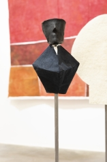 Ana Mazzei, Us and Them: The Priest, 2018, Iron, unfired clay, linen, fabric and painted ceramics