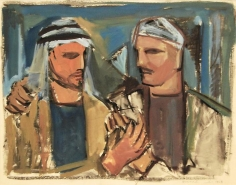 Mahmoud Hammad, Untitled, 1958, Gouache on paper, 36 x 46 cm
