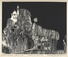Khaldoun Chichakli, Hermitage of the Night, 1983, Woodcut print, 18.8 x 23 cm, Ed.of 10