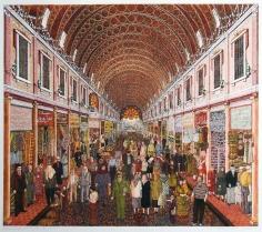 Khaldoun Chichakli, Al Hamidiya Bazaar in Brown, 2003, Watercolor on paper, 42.6 x 48.2 cm