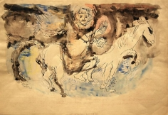 Elias Zayat, The Rider, 1967, Ink and watercolor on paper, 63 x 43 cm