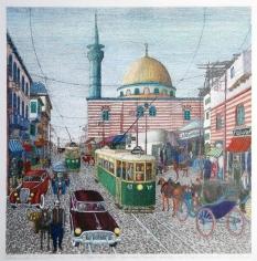 Khaldoun Chichakli, Al Sananeah Mosque and al Sabagin Bazaar (Farwateah) in Past Days, 2007, Watercolor on paper, 36 x 35.7 cm