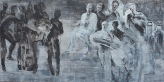 Ahmad Moualla, Untitled, 2011, Mixed media on canvas, 125 x 250 cm