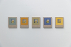 Kamrooz Aram, Variations on Glazed Bricks, 2021, Oil, color pencil and book pages on linen, Composed of 5 panels