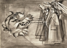 Mahmoud Hammad, Fighting the Beast, 1956, China ink, gouache on paper, 23.5 x 32.5 cm