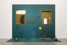 Ana Mazzei, Garden, 2017, Wood, painted wood, iron, felt, tempera on linen, acrylic on linen