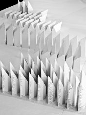 Seher Shah, Object Repetition (line to distance)(detail), 2011, 480 cast hydrocal objects with ink, Dimensions variable