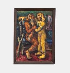 Samir Rafi,Two Sisters,1950, Oil on board, 109 x 79 cm