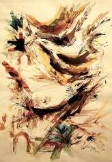 Elias Zayat, Birds of the Mosque Yard, 1992, Ink and watercolor on paper, 50 x 70 cm