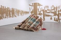 Hera Büyüktaşçıyan, Destroy Your House, Build up a Boat, Save Life,2015, Carpet, wood, rope