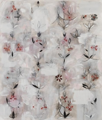 Kamrooz Aram, Resistant Forms in Uncertain Space (Palimpsest #27), 2013, Oil, oil pastel and wax pencil on canvas, 213 x 183 cm