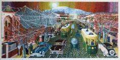 Khaldoun Chichakli, Moon Light Ornaments al Saleheah Street in Past Days, 2007, Watercolor on paper, 25.4 x 48.6 cm