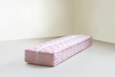 Nazgol Ansarinia, Mendings (pink mattress), 2012, Mattress, see-through thread