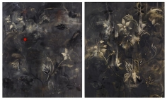Kamrooz Aram, Aspirations in Black and Red (diptych), 2012, Oil and acrylic on canvas, 122 x 208 cm