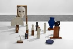 Ana Mazzei, Scene 1, 2019, Wood, painted cardboard, jesmonite, fabric, wool and digital print, Dimensions variable, Composed of 14 peices