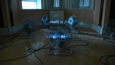 Hale Tenger, Where the Winds Rest, 2007, 16 fans and a single-channel video projection, QuickTime movie,