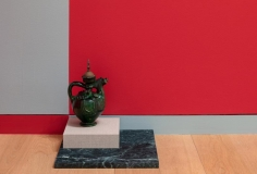 Kamrooz Aram, Green Memorial, 2017, Green marble, linen on mdf, ceramic, brass