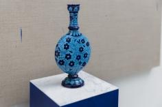 Kamrooz Aram,Composition with lapis lazuli, cobalt and ceramic bottle (detail), 2021